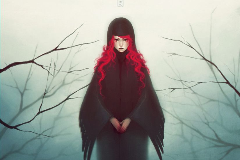 art mezamero girl red hair blood wings branches mood fantasy wallpaper  background