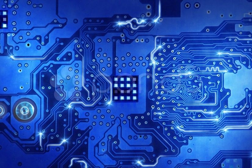 Computer Circuit Board Blue Loopable Background Stock Footage .