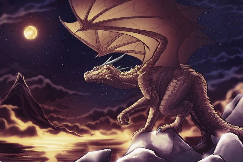 3840x2160 Wallpaper dragon, clouds, art, mountains, sky, nighttime