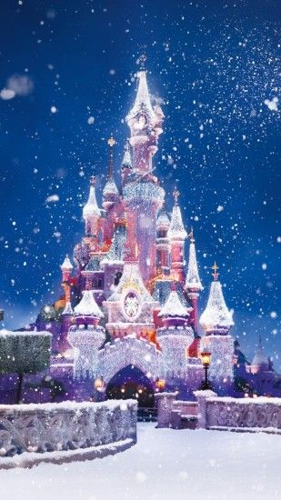 Disney Castle Christmas Lights Snow Android Wallpaper ...