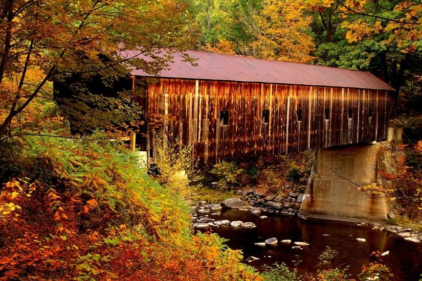 COVERED BRIDGE Autumn Windsor County Stream Vermont Water Tree Usa Natural  World Seasons Rural Scene Landforms