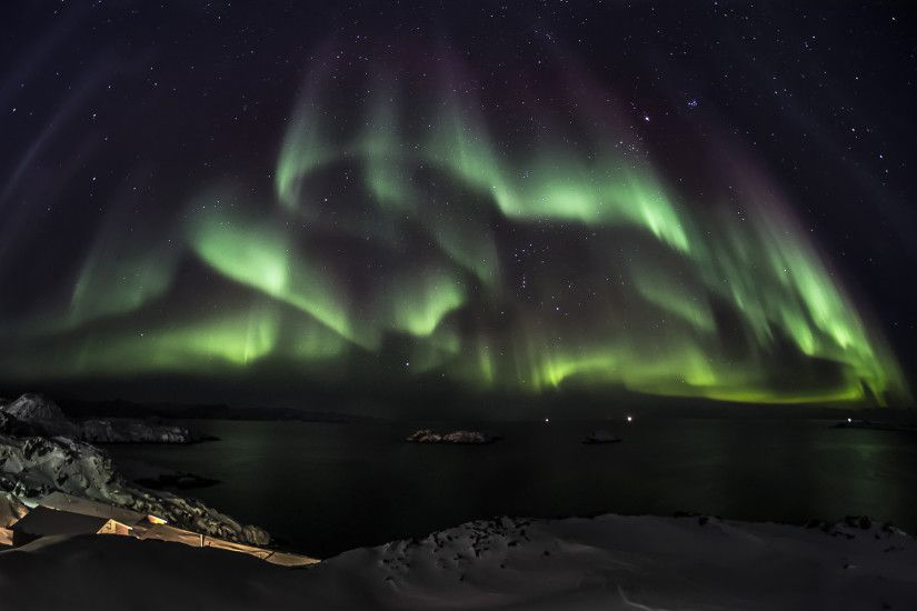 Aurora Borealis Northern Lights Night Green Stars Sky Wallpapers 1920x1200px
