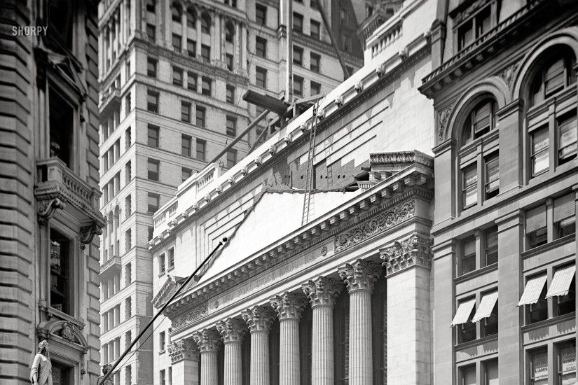 black and white usa new york city manhattan grayscale wall street  historical constructions new york Art
