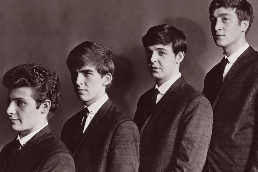 Preview wallpaper the beatles, band, faces, suits, ties 1920x1080