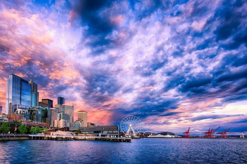 Seattle Ferris Wheel Sunset wallpaper | 2500x1666 | 291362 | WallpaperUP