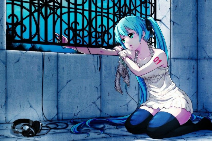 Girl Hair Headphones Sadness Fence Anime Wallpapers 1080p Full Hd KNv736
