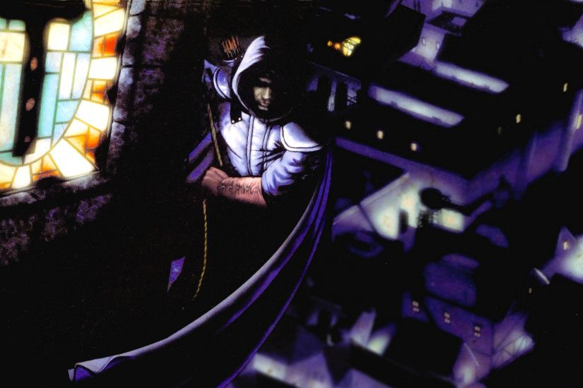 By Digital Nightfall: Garrett scaling the Hammerite Tower, from the Thief 1  Trapeziod Box Inner Flap, Widescreen Edition.