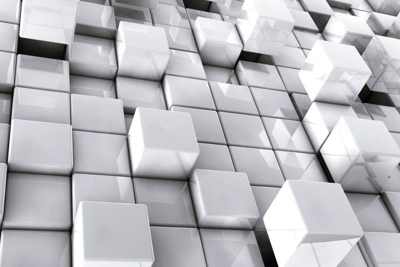 Abstract White 3d Cubes Desktop Wallpaper Picture