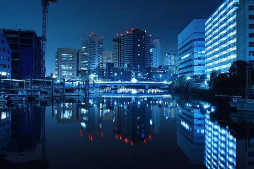 Download Midnight Blue Japanese Lake Japan City Sky Tokyo Night High  Quality Wallpaper