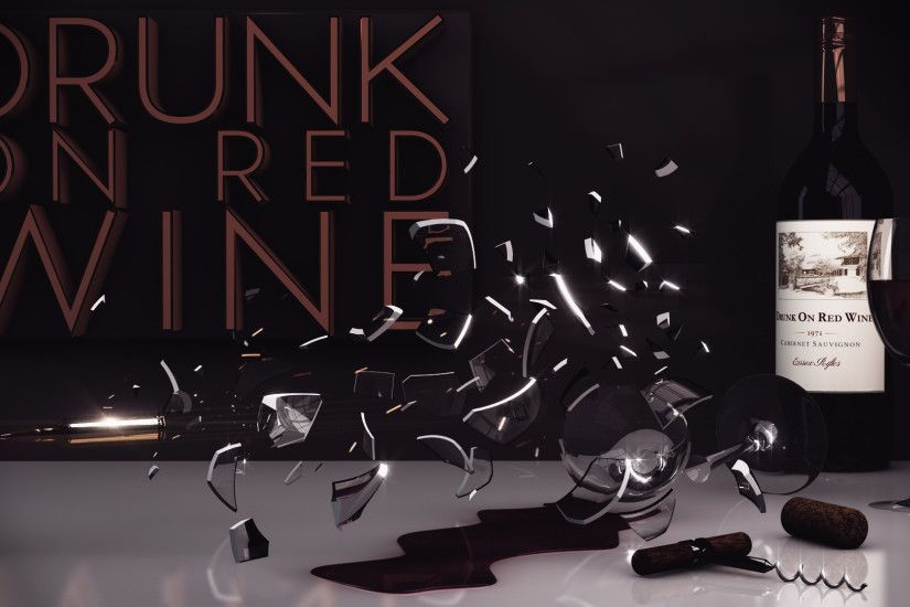 ... 3D Drunk On Red Wine Wallpaper by BENBOBBY