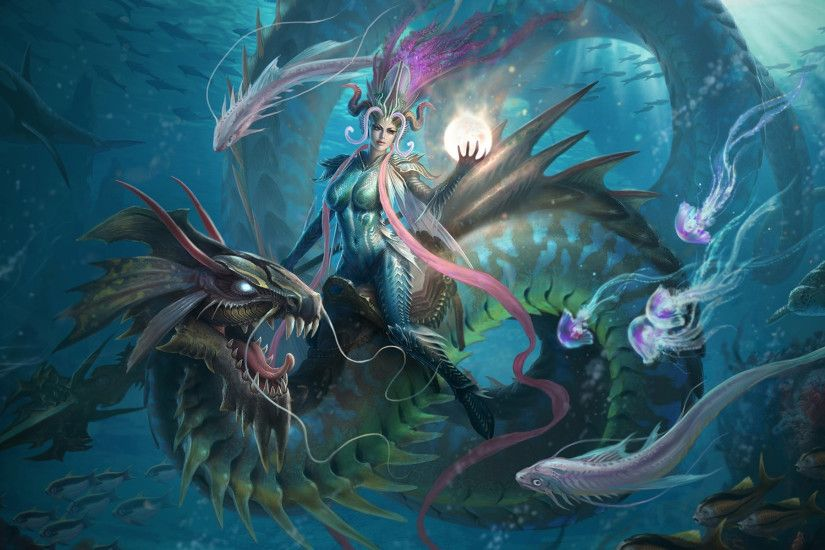 Fantasy girl riding a water-dragon - Desktop Nexus Wallpapers