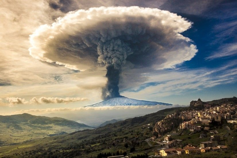 nature, Etna, Volcano, Eruption, Sicily, Italy, Snowy Peak, Mushroom,  Smoke, Sky, Clouds, Town, Mountain Wallpapers HD / Desktop and Mobile  Backgrounds