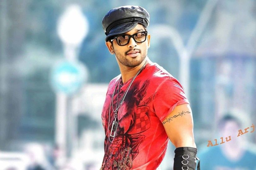 South Indian stylish hero Allu Arjun in red t shirt high definition  wallpapers