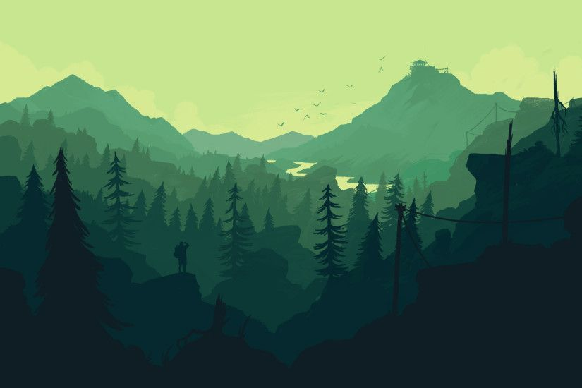 Firewatch videogame wallpaper. Colorful landscape wallpaper, mountains,  forest, trees, nature.