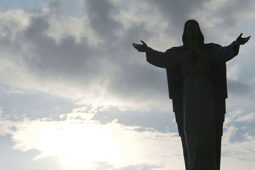Jesus Christ statue against cloudy sky background, Son of God blessing,  religion Stock Video Footage - VideoBlocks