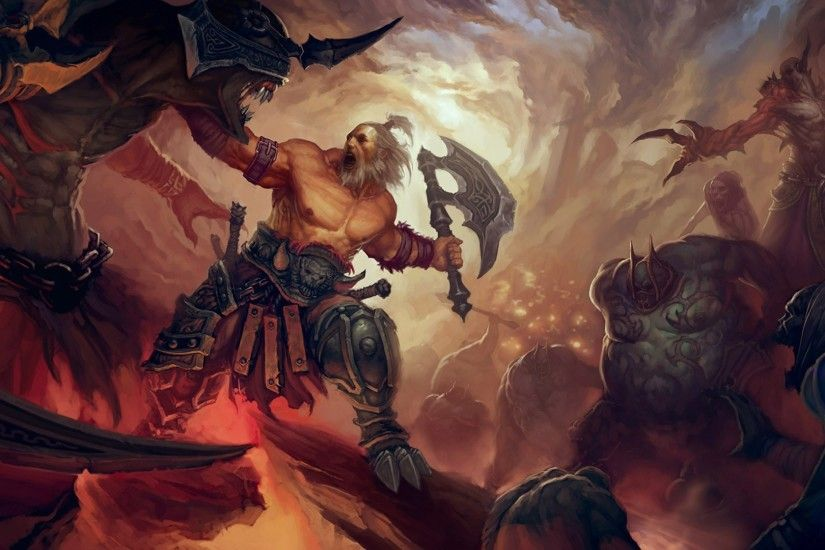painting, Illustration, Fantasy Art, Diablo III, Barbarian Wallpapers HD /  Desktop and Mobile Backgrounds