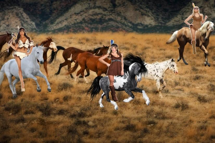 Native Americans images 3 hot brave native american women riding their  beautiful horses to roundup and tame a herd of wild h HD wallpaper and  background ...