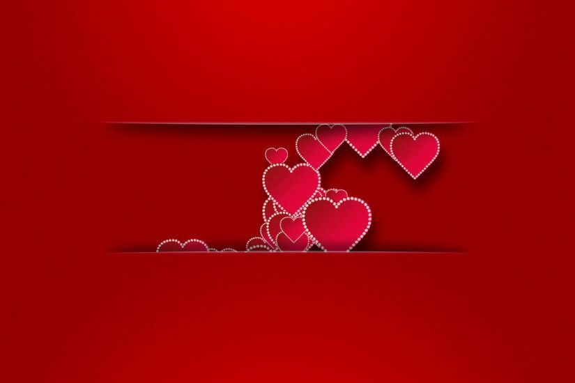 Romantic red hearts with pearls on a red background with animated  inscription I love you. Place for your text. 4K UHD video animation.