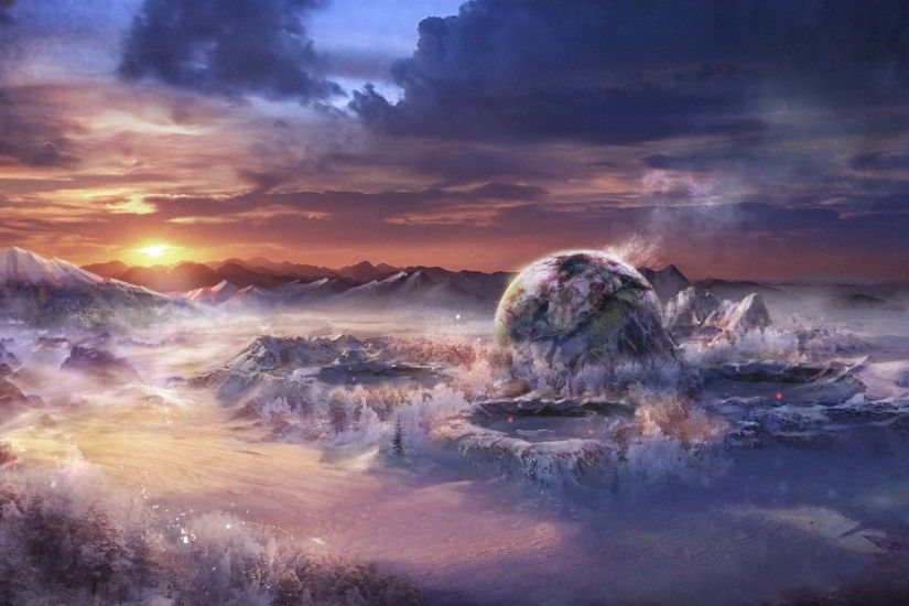 art landscape fantasy world mountain snow sunset craters planet ball