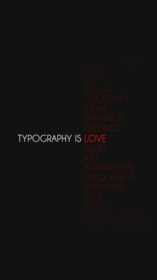 2160x3840 Wallpaper typography is love, black, black background, sign,  reflections