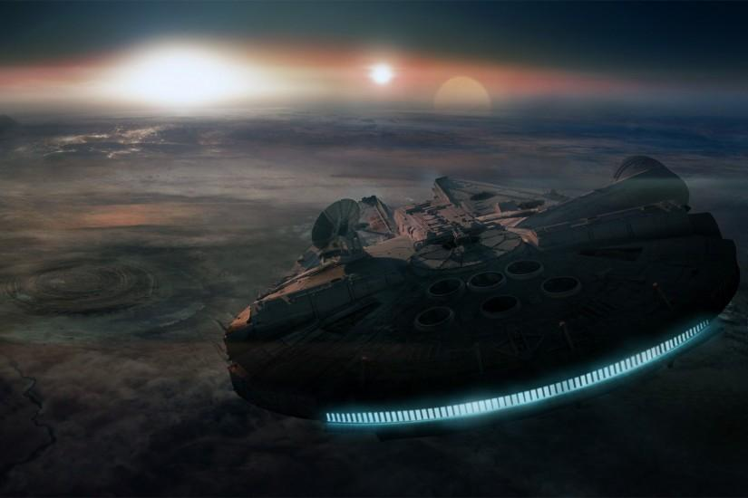 wallpaper Luke Skywalker · Millennium Falcon