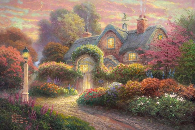 rosebud cottage thomas kinkade painting cottage flowers thomas kinkade  painting cottage supplies flower light weather vane
