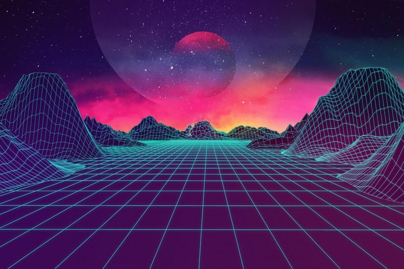 full size synthwave wallpaper 3401x2128