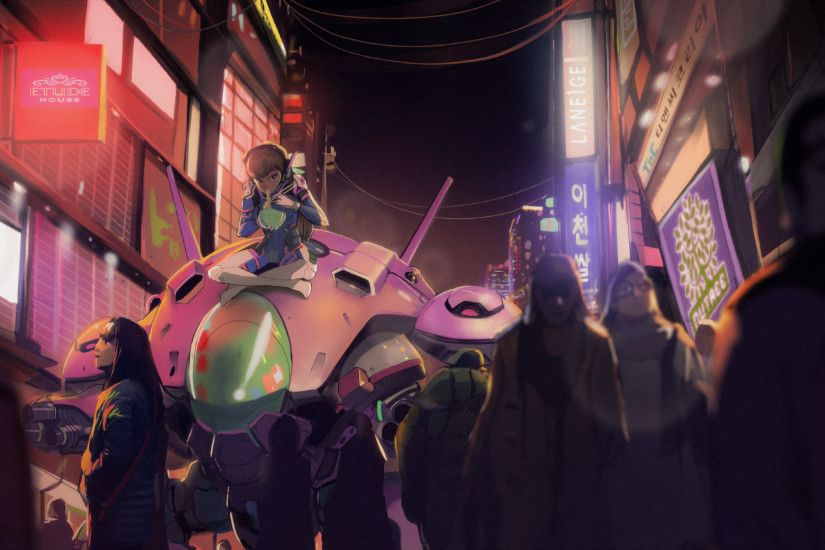 Video Game - Overwatch D.Va (Overwatch) Mecha Crowd Wallpaper
