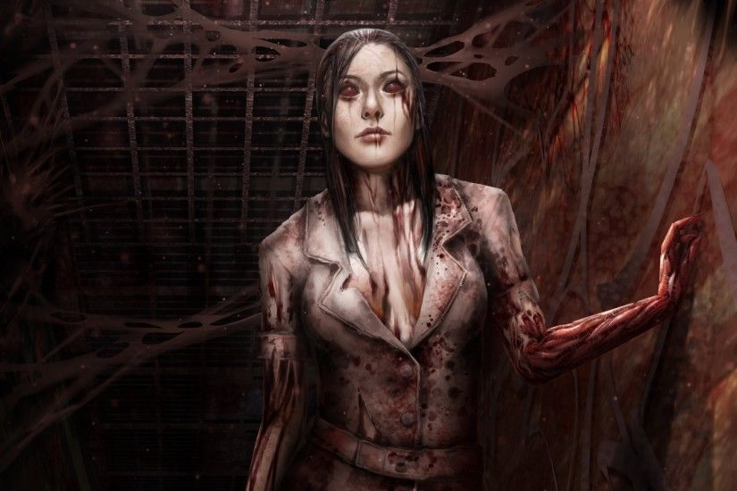 silent hill death blood girl corridor dark nurse fan art