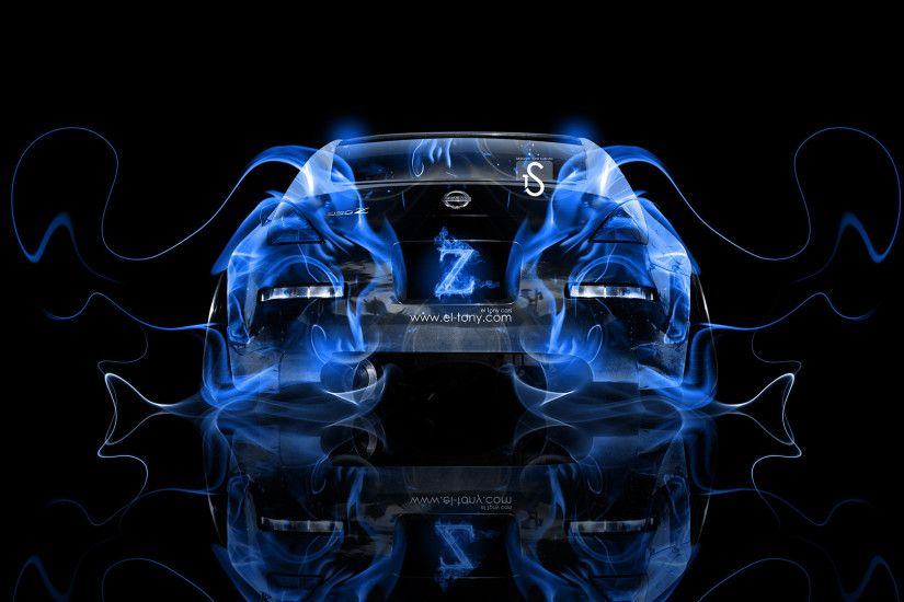 ... Nissan-350Z-JDM-Tuning-Blue-Fire-Abstract-Car- ...