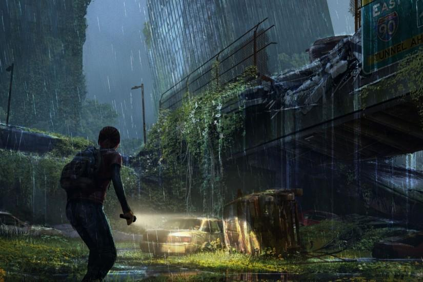 Preview wallpaper the last of us, apocalypse, girl, city, night 1920x1080