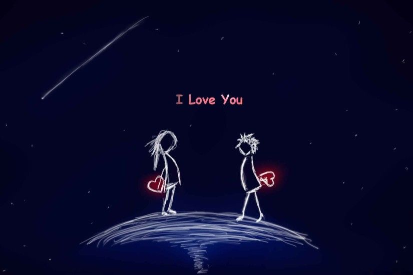 i love you cartoon couple wallpaper background