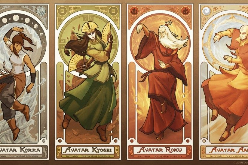 #Kyoshi, #Alphonse Mucha, #Roku, #elements, #Aang, #Avatar: The Last  Airbender, #Korra, wallpaper