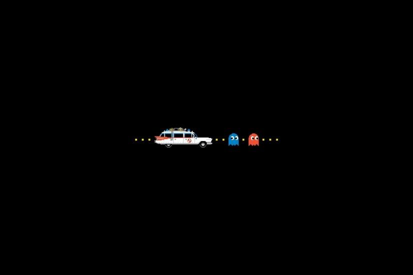 video games Ghostbusters Pac-Man simple background black background  wallpaper