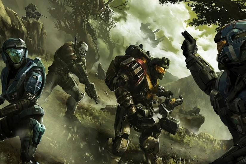 Preview wallpaper halo, soldier, commander, trees 3840x2160