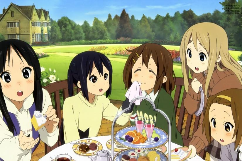 2560x1440 Wallpaper k-on, girls, table, treats