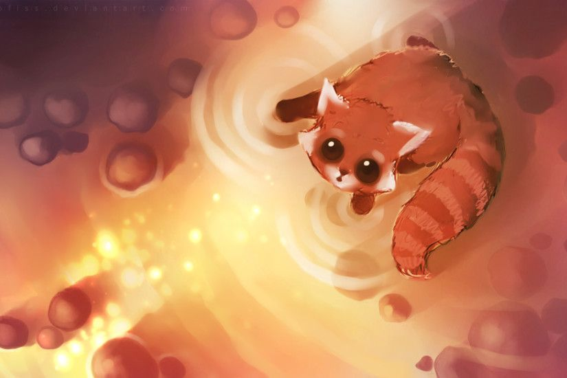Heart-touching Cuties and Kittens : Speed Painting by Apofiss - Adorable  Baby Red Panda Drawing Wallpaper 19