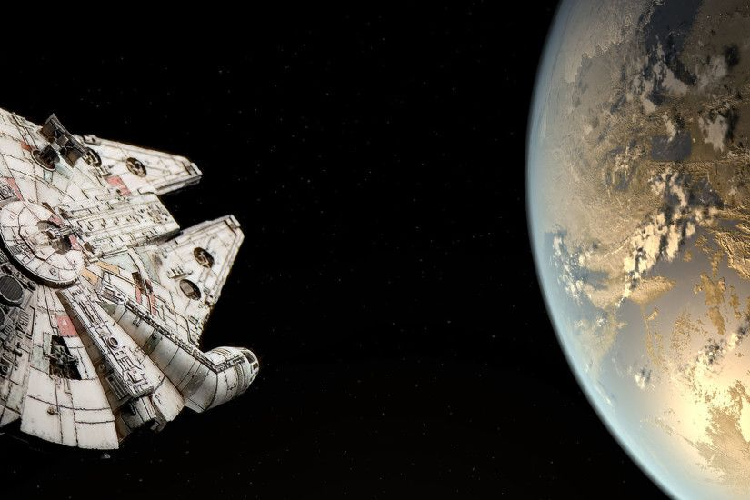 Fan CreationsCouldn't find a dual-monitor Millennium Falcon wallpaper I  loved, so I made one of my own.