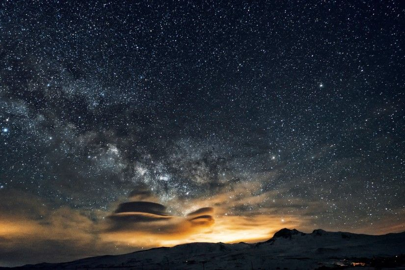 Mount Aragats and stars on the night sky Wallpapers :: HD Wallpapers