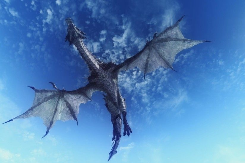 1920x1080 Wallpaper dragon, sky, flying, 3d