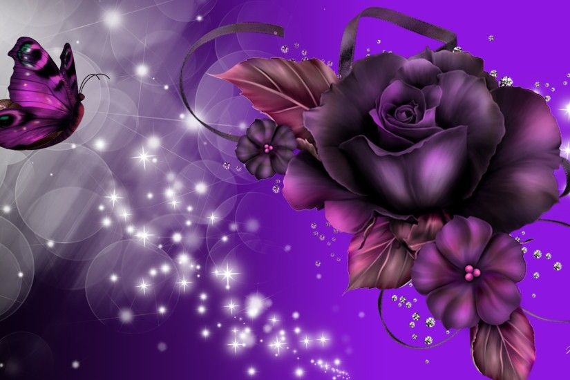 Fantasy - Artistic Sparkles Butterfly Purple Rose Wallpaper
