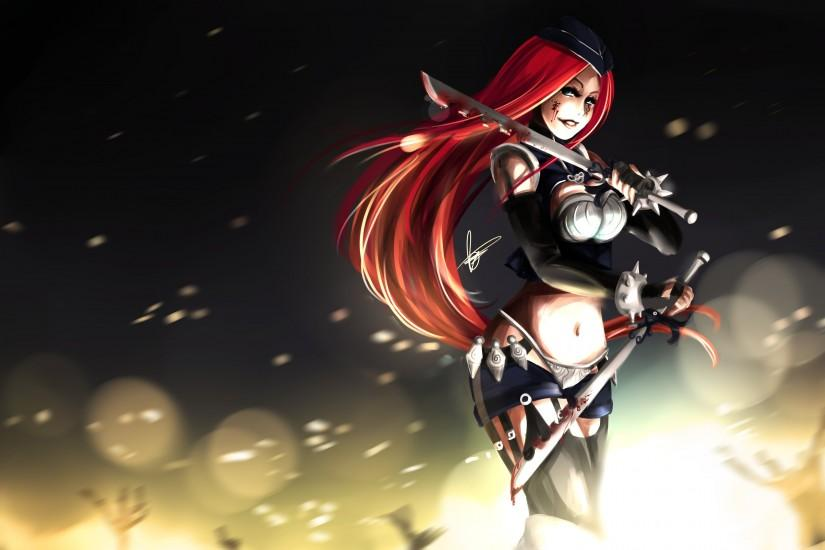League of legends blood katarina weapon warrior dark fantasy wallpaper