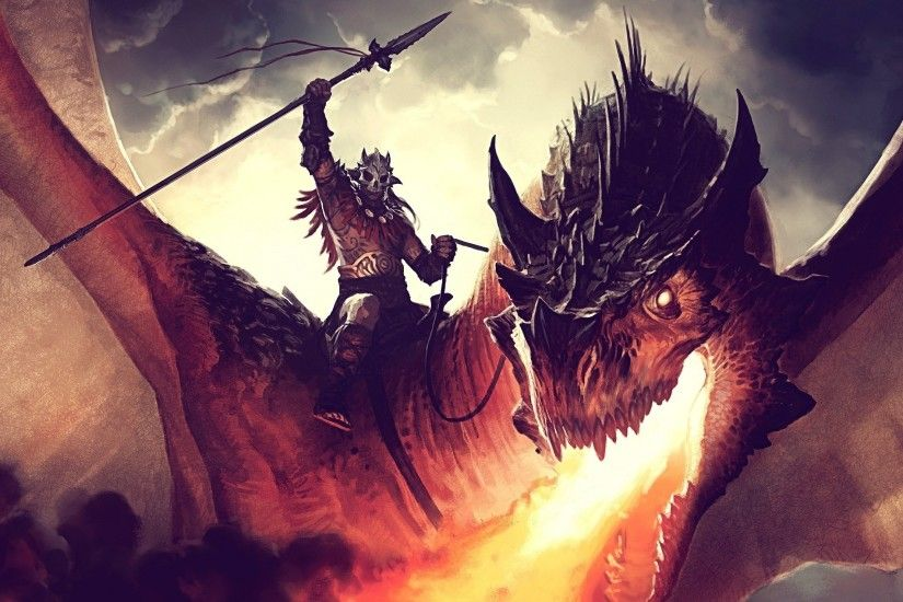 artwork, Digital Art, Fantasy Art, Dragon, Warrior Wallpapers HD / Desktop  and Mobile Backgrounds