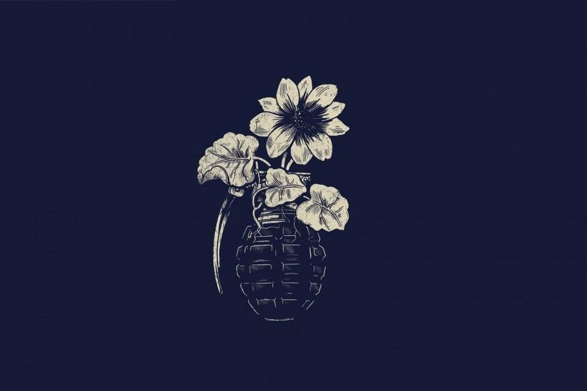 Artwork Flowers Grenades Minimalistic Simple Background Simplistic Wallpaper  ...