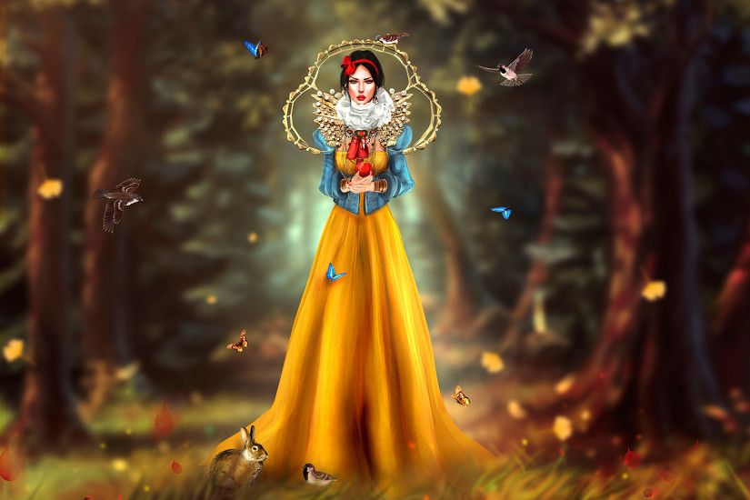 Photos Snow White and the Seven Dwarfs Birds Butterflies Snow White Locuala  Madruga Girls Cartoons 3D