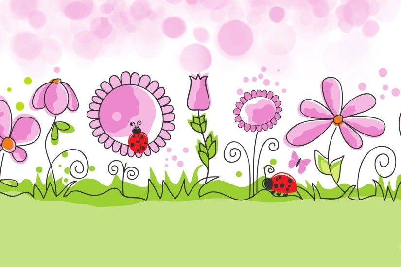 HD Flower Garden Spring Vector Free Desktop Background Wallpaper .