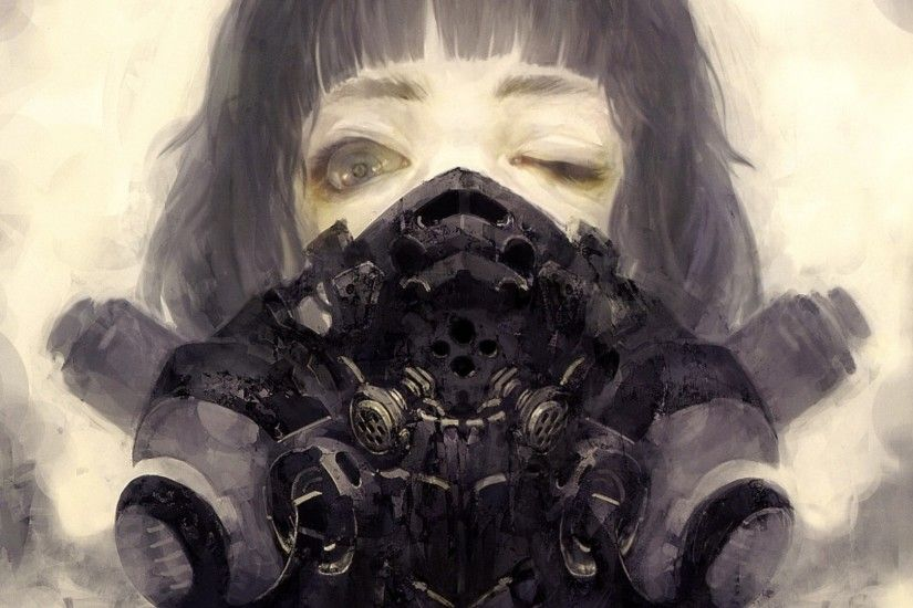 Anime - Original Scary Mask Gas Mask Wallpaper