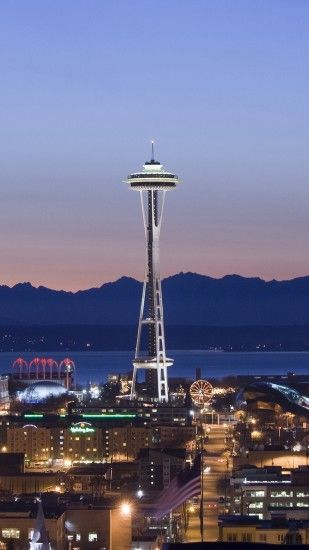 1440x2560 Wallpaper tower, seattle, evening, united states of america