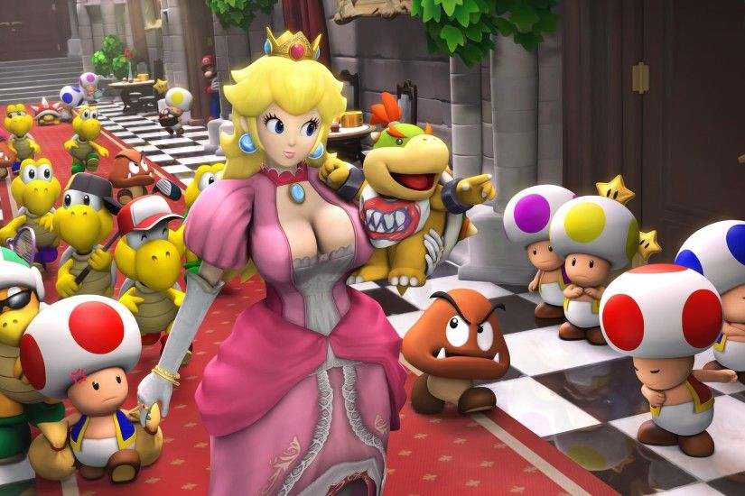 General 3840x1948 Princess Peach Super Mario video games render Peach Toad  (character) Nintendo Goomba
