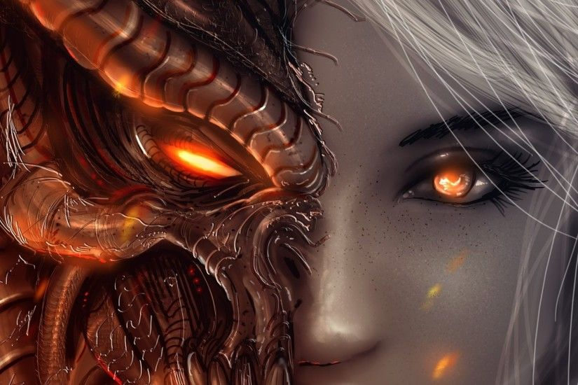 2048x1152 Wallpaper diablo 3, girl, art, angels, demons